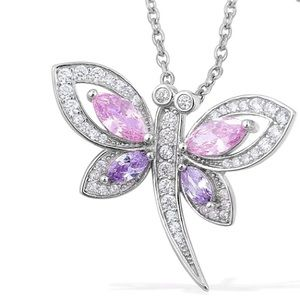 Simulated Diamond Multicolored Drqgonfly Necklace
